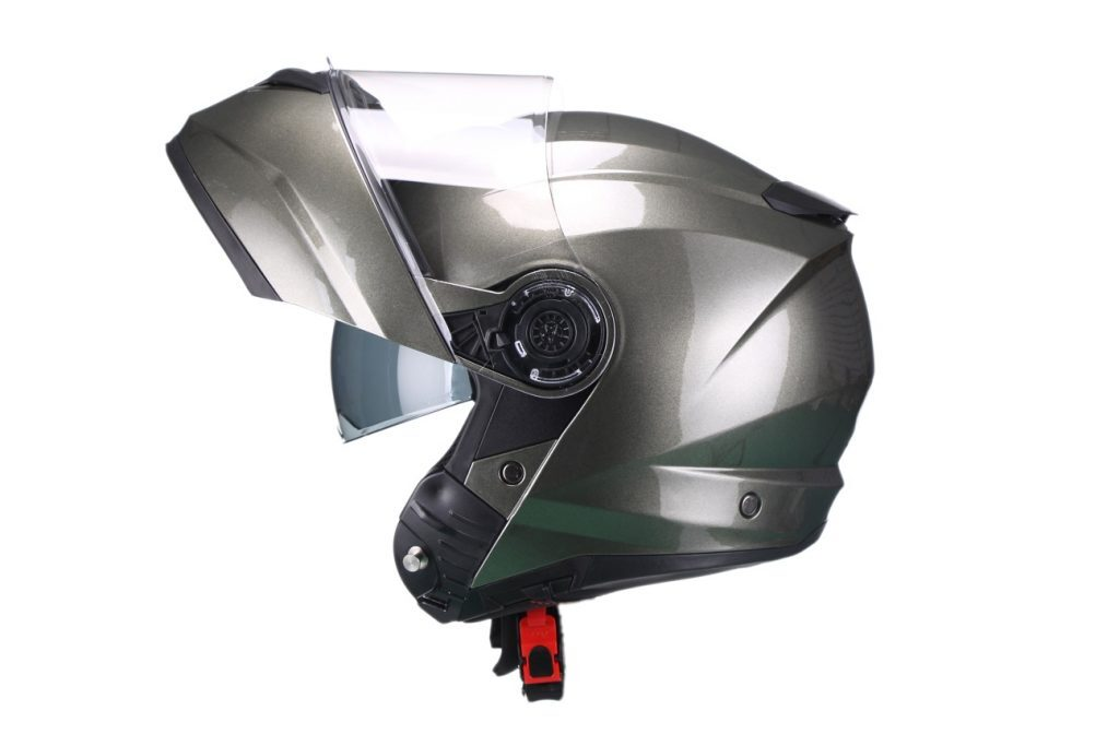 Moto ķivere FURIO ar paceļamu žokli, gun metālkrāsa