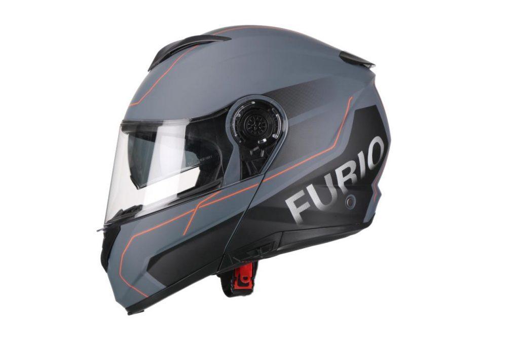 Moto ķivere FURIO, matēti pelēka ar sarkanu