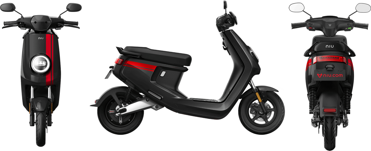 NIU MQi+ Sport electric scooter, black with red stripes
