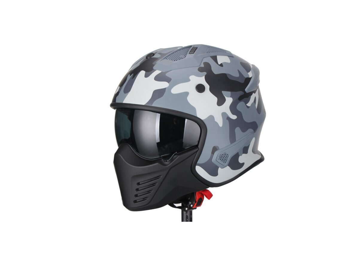 Moto ķivere Vito Helmets, modelis BRUZANO ar noņemamu žokli, krāsa CAMO