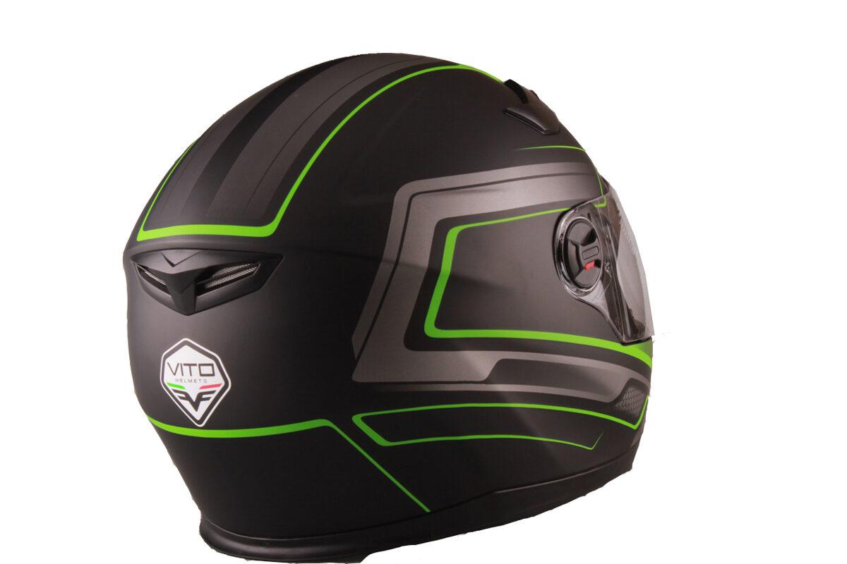 Moto ķivere FALCONE, matēti melna ar zaļu, ar paceļamu žokli.