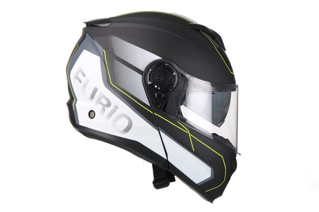 Moto ķivere Vito Helmets, modelis FURIO ar paceļamu žokli, krāsa PELĒKA / DZELTENA / BALTA