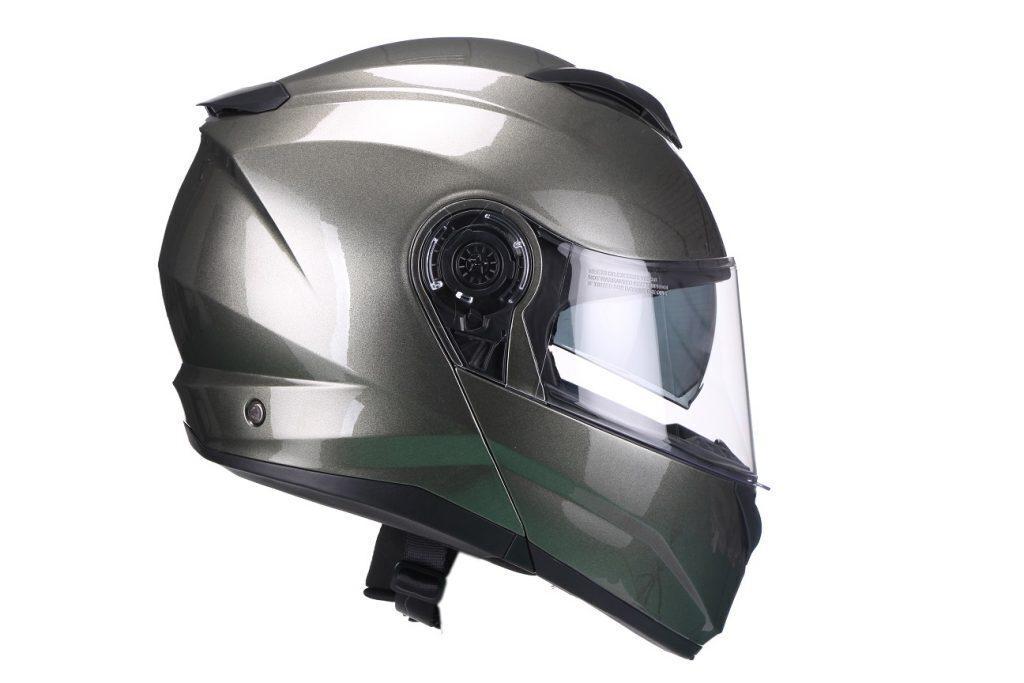 Moto ķivere FURIO, metālkrāsa, ar paceļamu žokli.