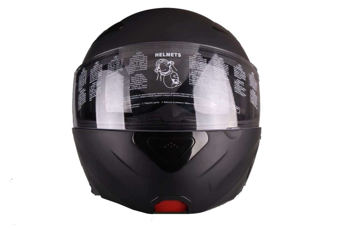Moto ķivere LANZETTI, ar paceļamu žokli,  melna matēta