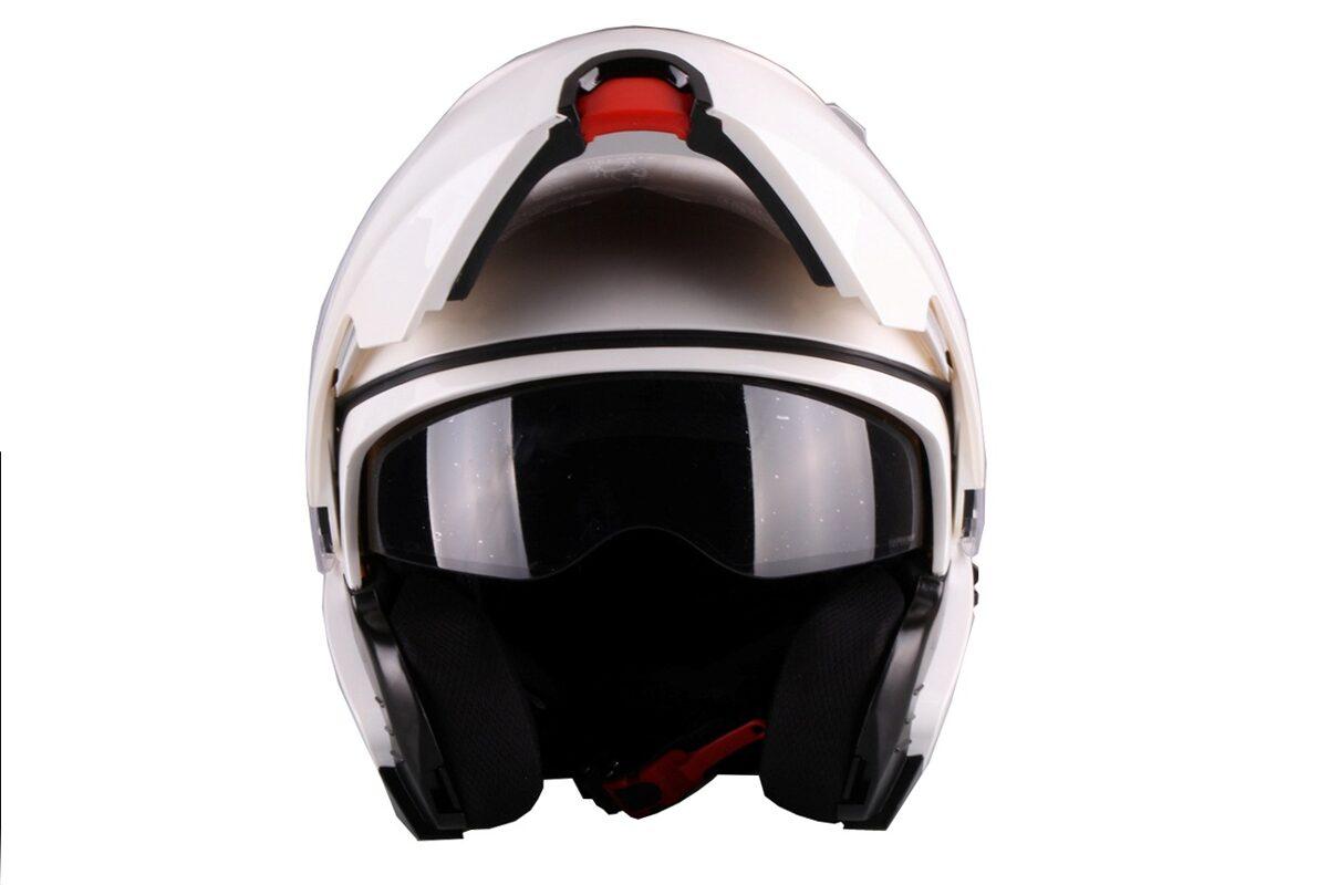 Moto ķivere LANZETTI, ar paceļamu žokli, balta spīdīga