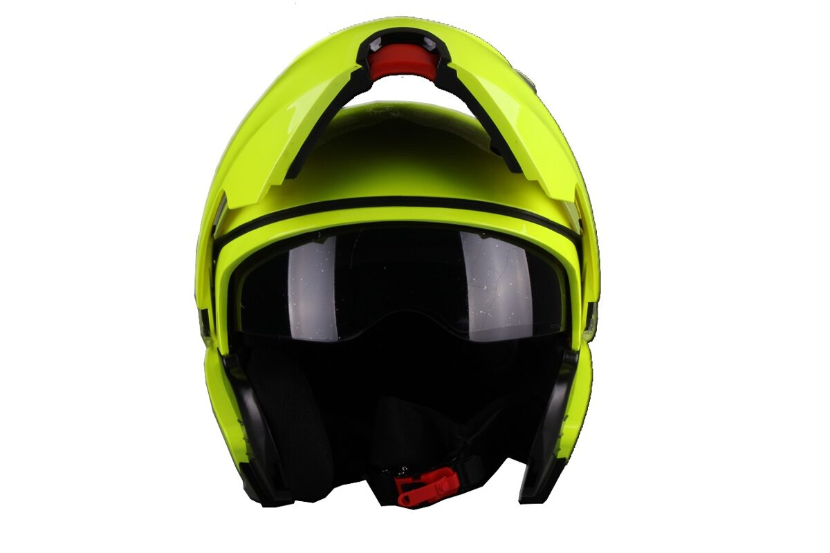 Moto ķivere LANZETTI, ar paceļamu žokli, dzeltana spīdīga