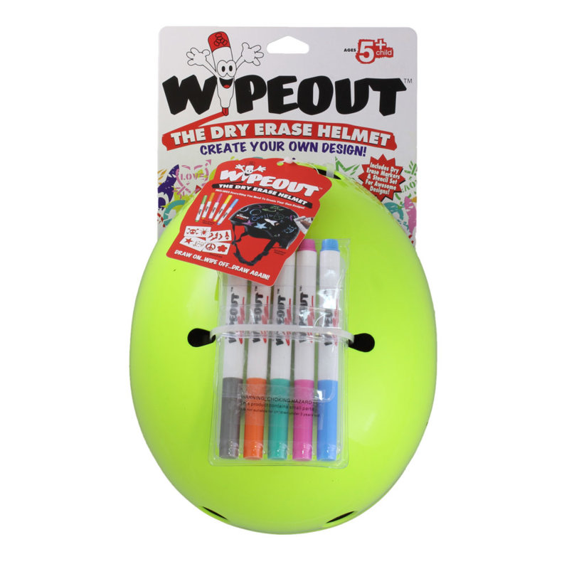 Aizsargķivere Wipeout Dry Erase Kids, neona zaļa