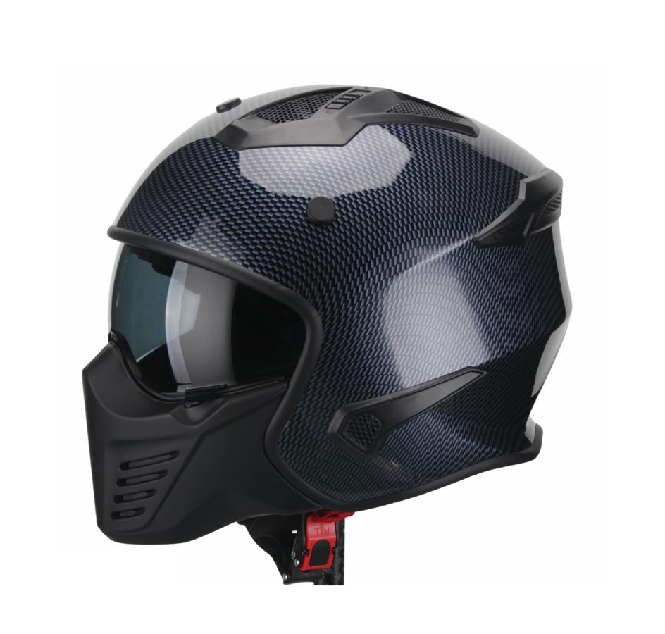 Moto ķivere BRUZANO, carbon tumši zilā krāsā