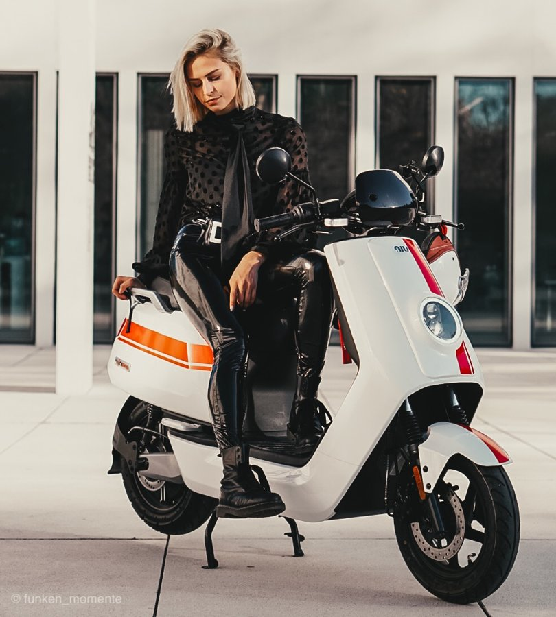 NIU NQi GTs Pro electric scooter, white with red stripes