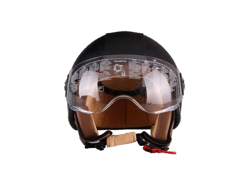 Vito Helmet motorollera ķivere BERLIN ar ādas apdari