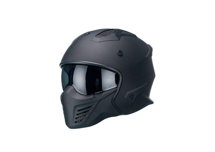 Moto ķivere Vito Helmets, modelis BRUZANO ar noņemamu žokli, krāsa MATĒTI MELNA