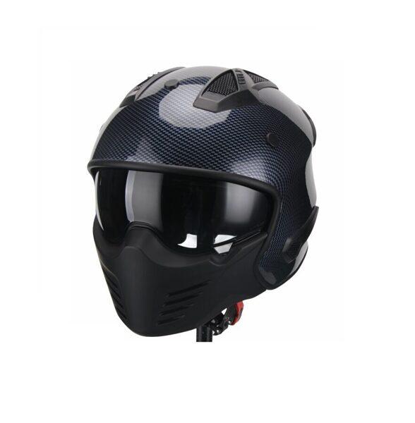 Moto ķivere Vito Helmets, modelis BRUZANO ar noņemamu žokli, krāsa CARBONA