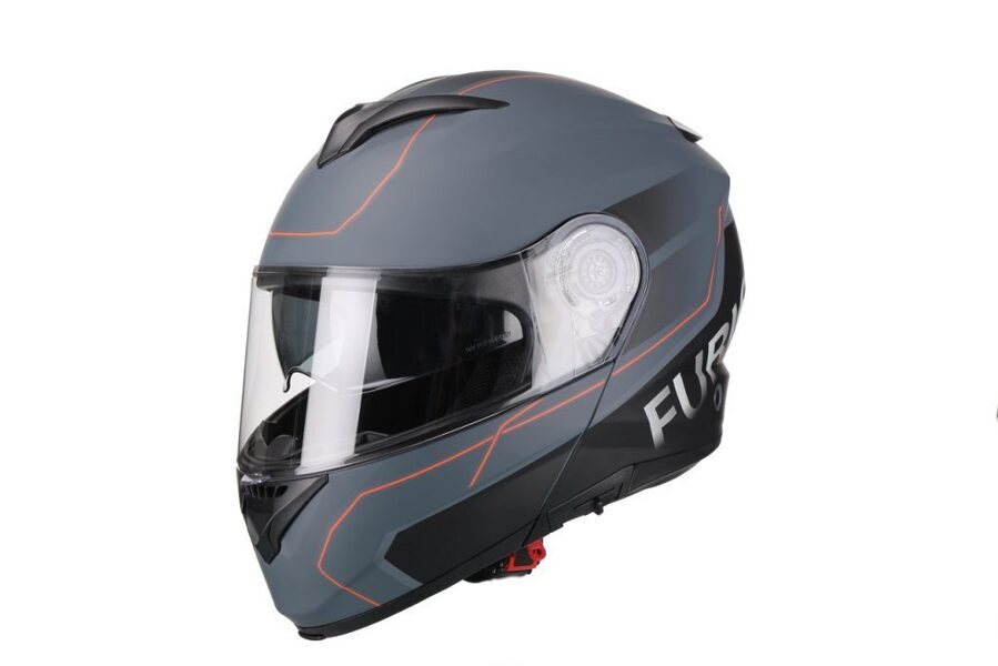 Moto ķivere Vito Helmets, modelis FURIO ar paceļamu žokli, krāsa MATĒTI PELĒKA / SARKANA