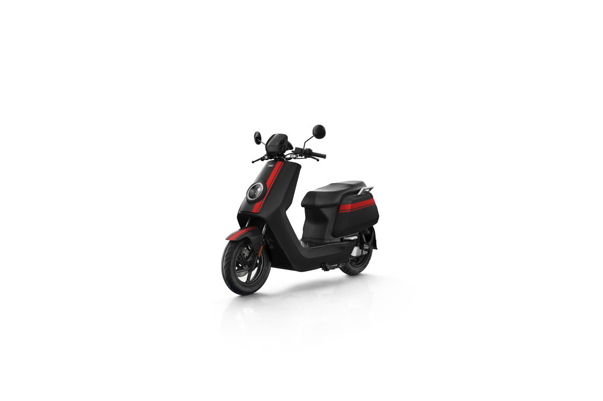 NIU NQi GTs Pro electric scooter, black with red stripes