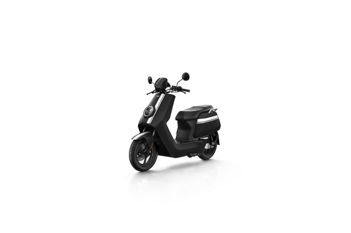 NIU NQi GTs Pro electric scooter, black with white stripes