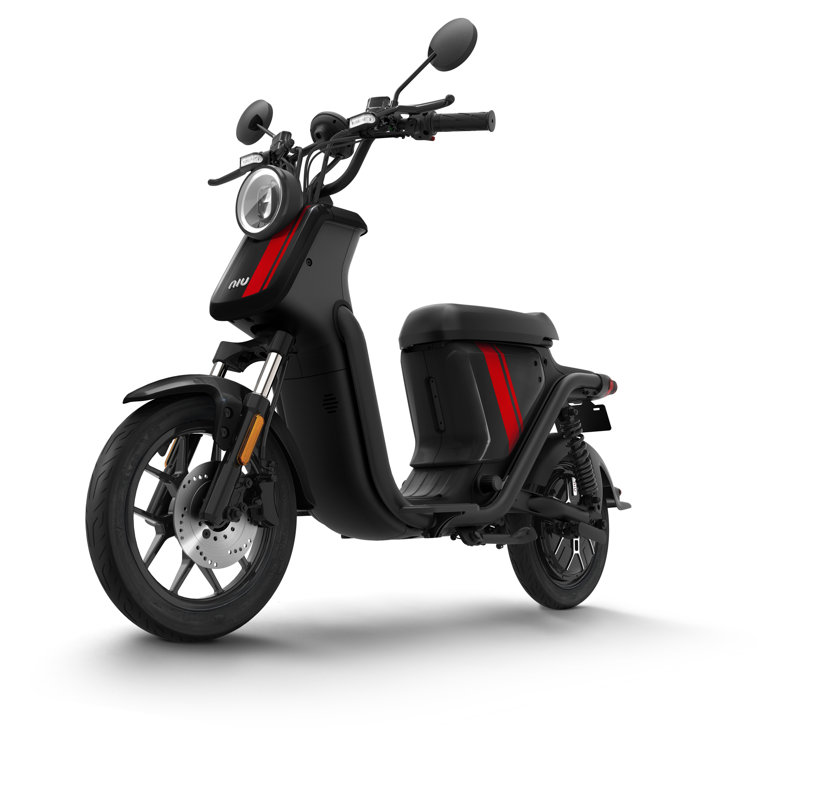 NIU UQi Pro electric scooter, black with red stripes